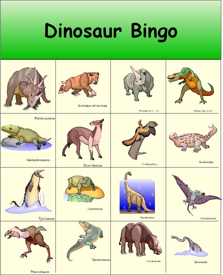 6 Images of Printable Dinosaur Bingo