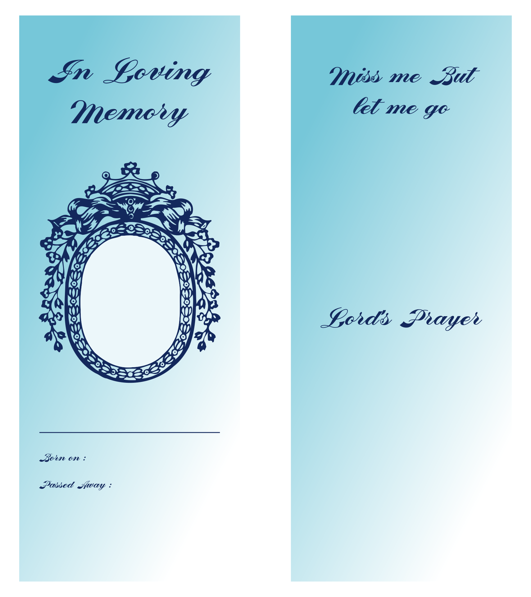 Printable Funeral Memorial Bookmark Template