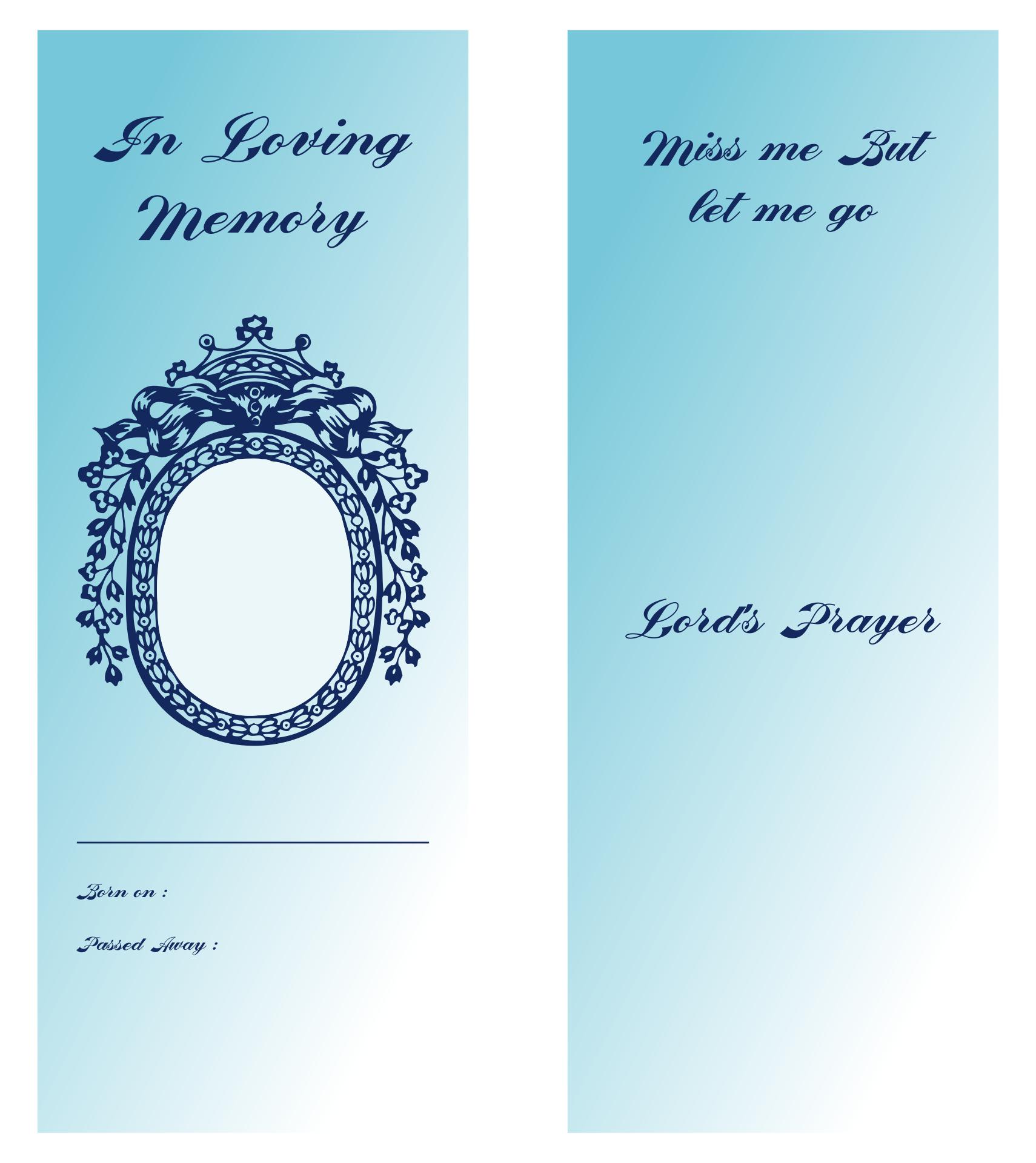 Free Printable Funeral Memorial Bookmark Template