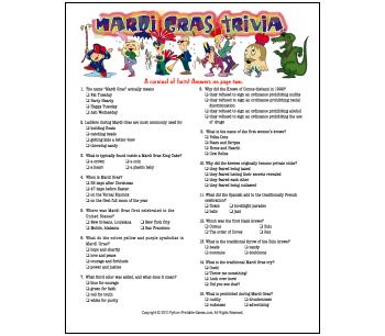 Free Printable Mardi Gras Trivia