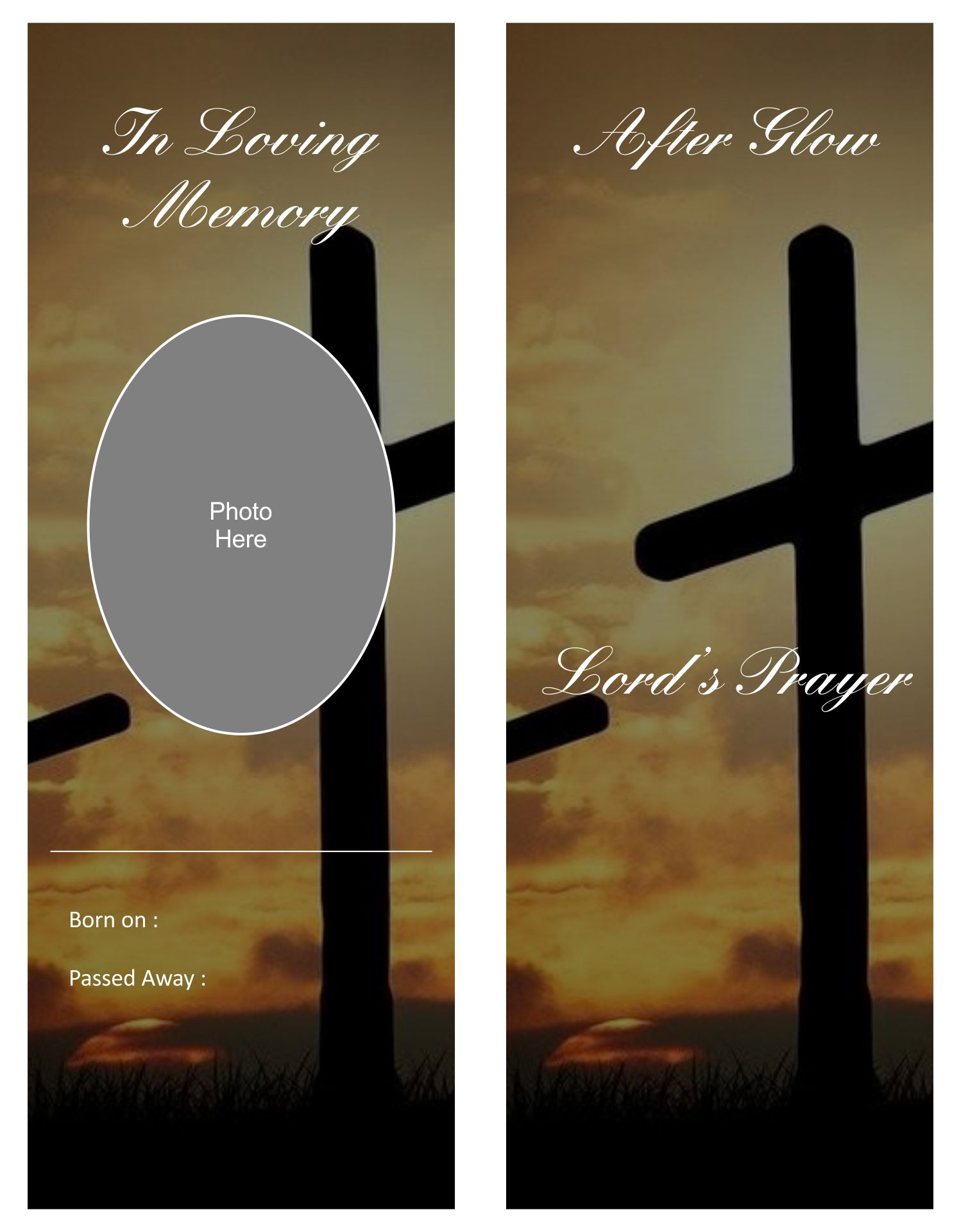 Printable Memorial Bookmark Template
