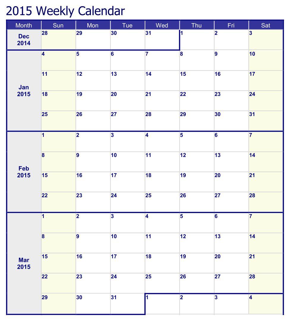 Printable Weekly Calendar Templates 2015