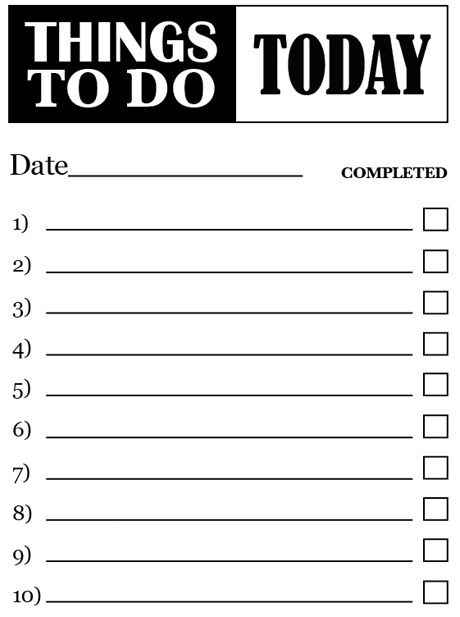 7 Images of Things To Do List Free Printable