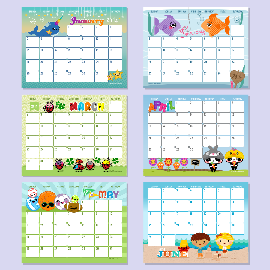 6 Images of Hello Cuteness Free Printable Calendars