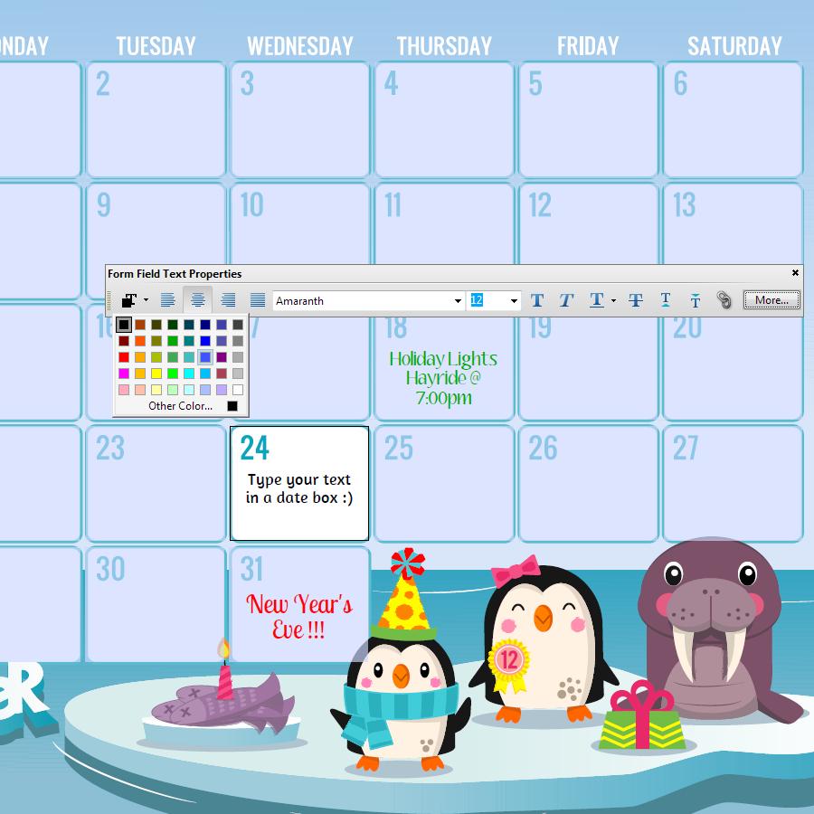 Hello Cuteness Calendars 2014 2015 Editable via