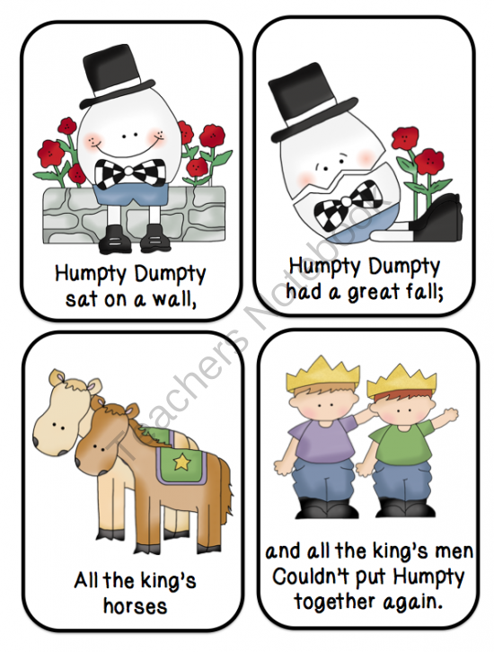 4 Images of Humpty Dumpty Sequencing Printable