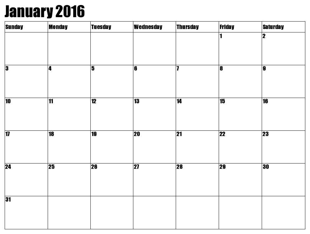 7 Images of Jan 2016 Calendar Printable