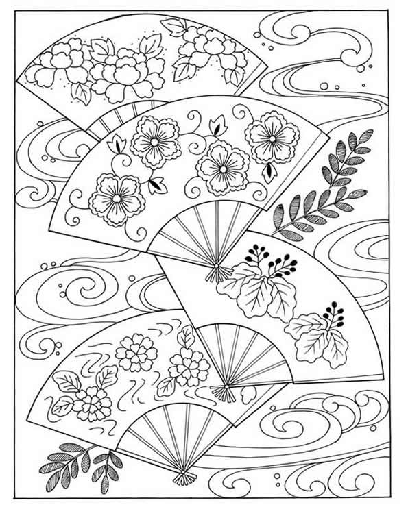4 Images of Vintage Japanese Coloring Pages Printable