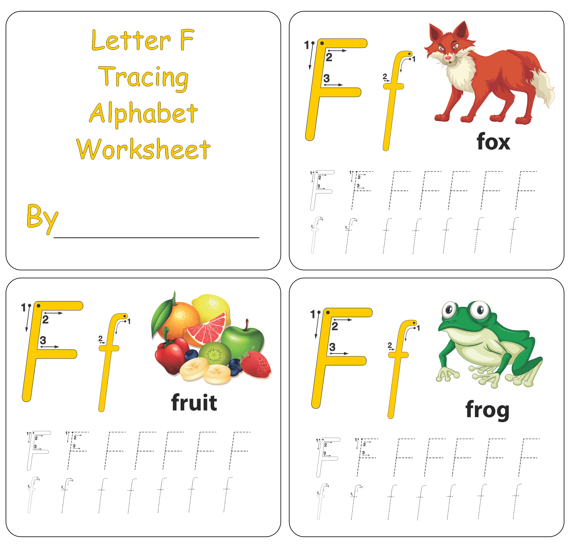 Letter F Tracing Worksheets Preschool