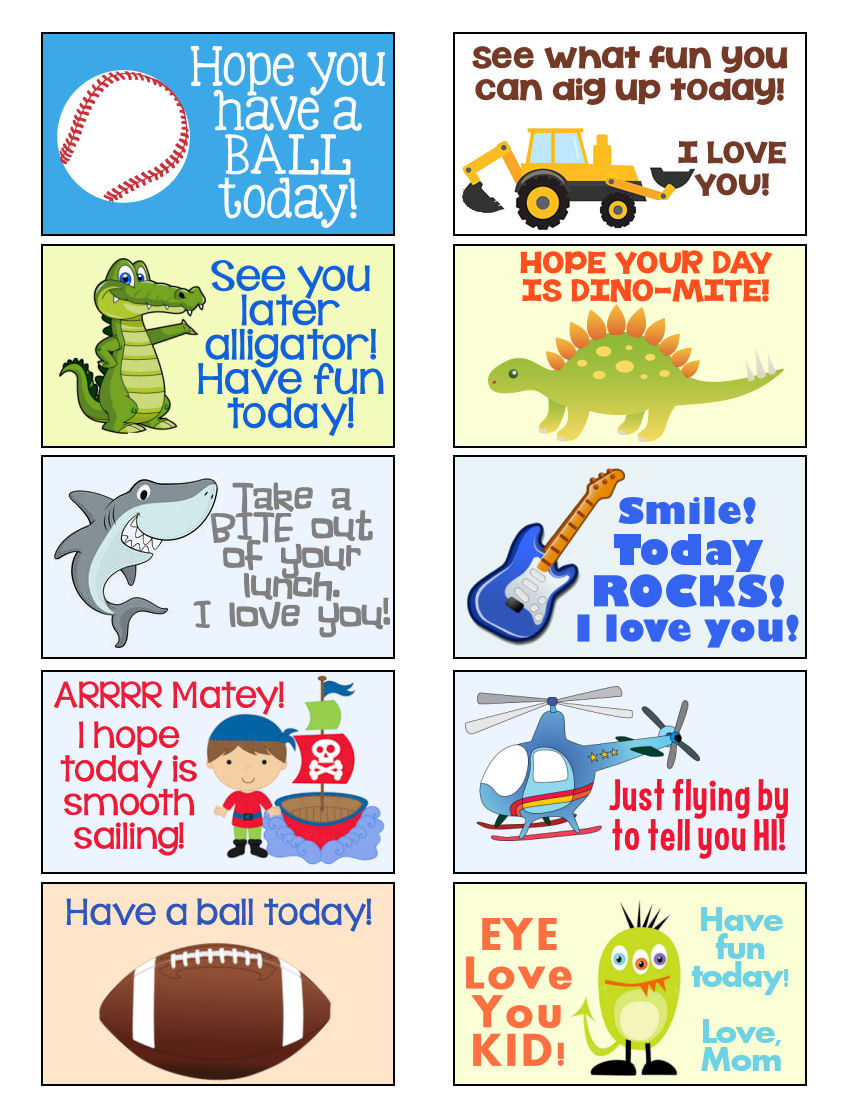 5 Images of Lunch Notes Printable For Boys