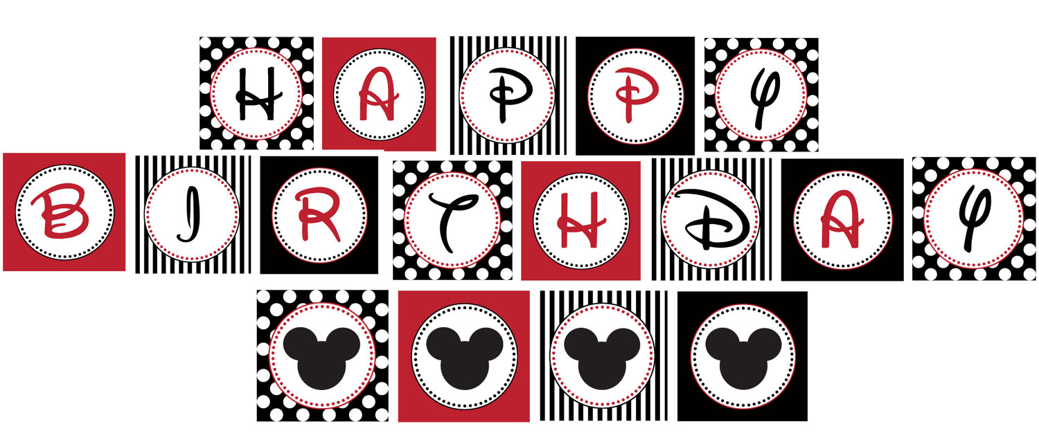 4 Images of Mickey Mouse Birthday Printables