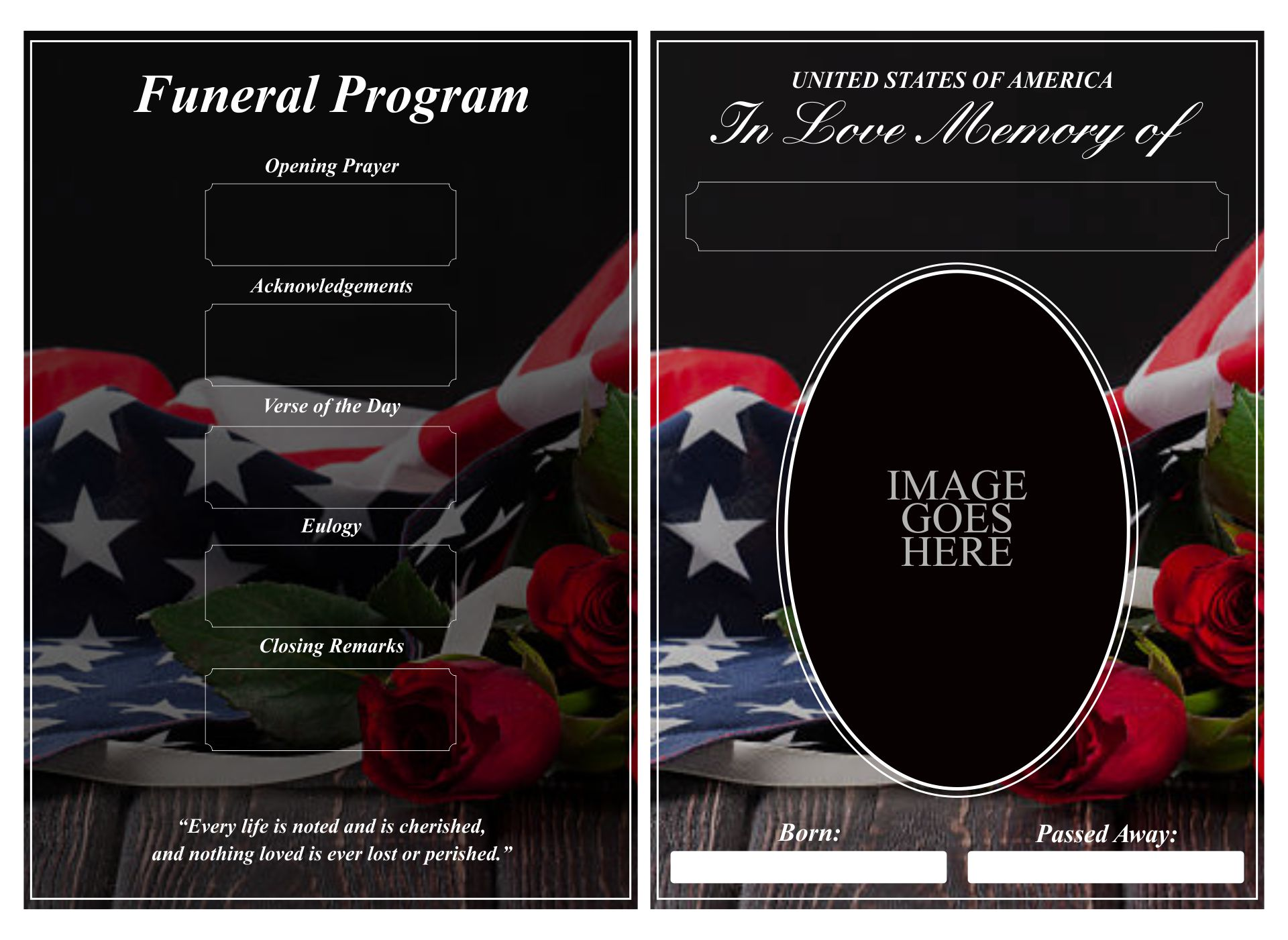 Military Funeral Program Template