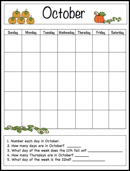 8 Images of Free Printable Preschool Calendar Template October