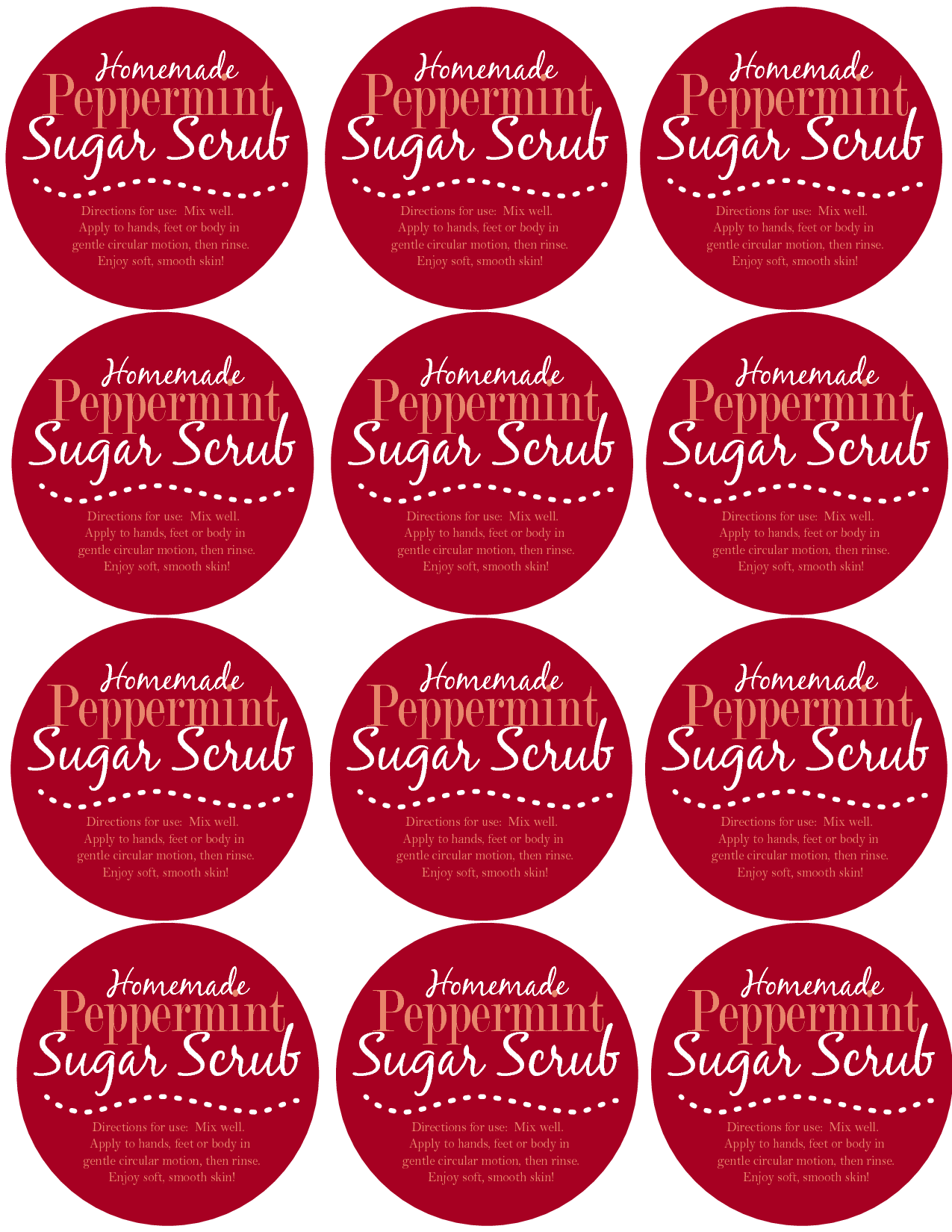 ... and Candy Cane Peppermint Sugar Scrub Label Printable / printablee.com