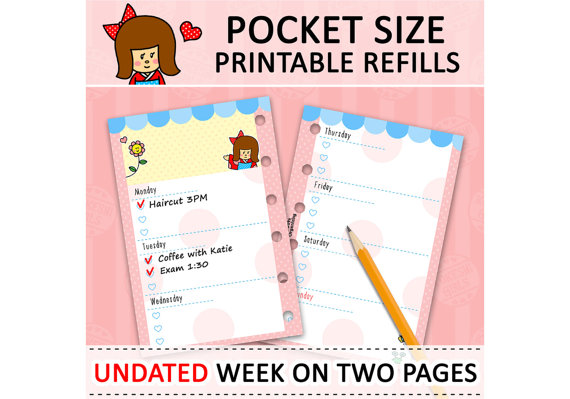 Pocket Filofax Week On 2 Pages Printable