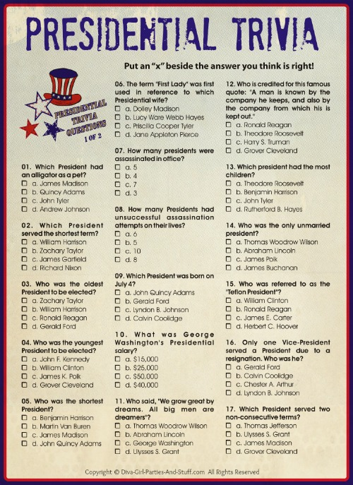 4 Images of Presidents Day Trivia Printable