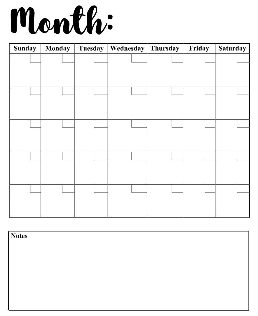 Printable Blank Weekly Calendars Templates
