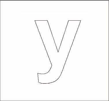 Printable Lower Case Stencil Letter Y