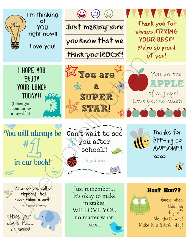 7 Images of First Day Of School Printable Lunch Notes