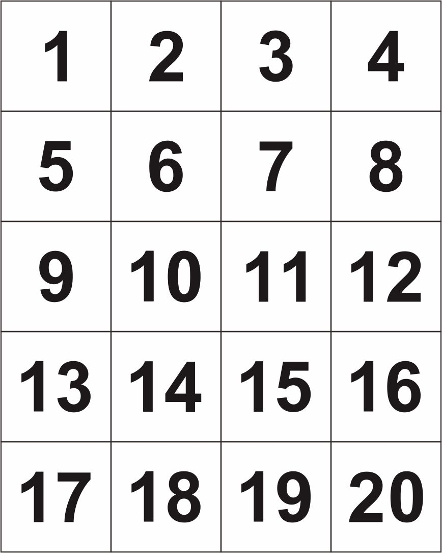 4 Best Large Printable Number Cards 1 20