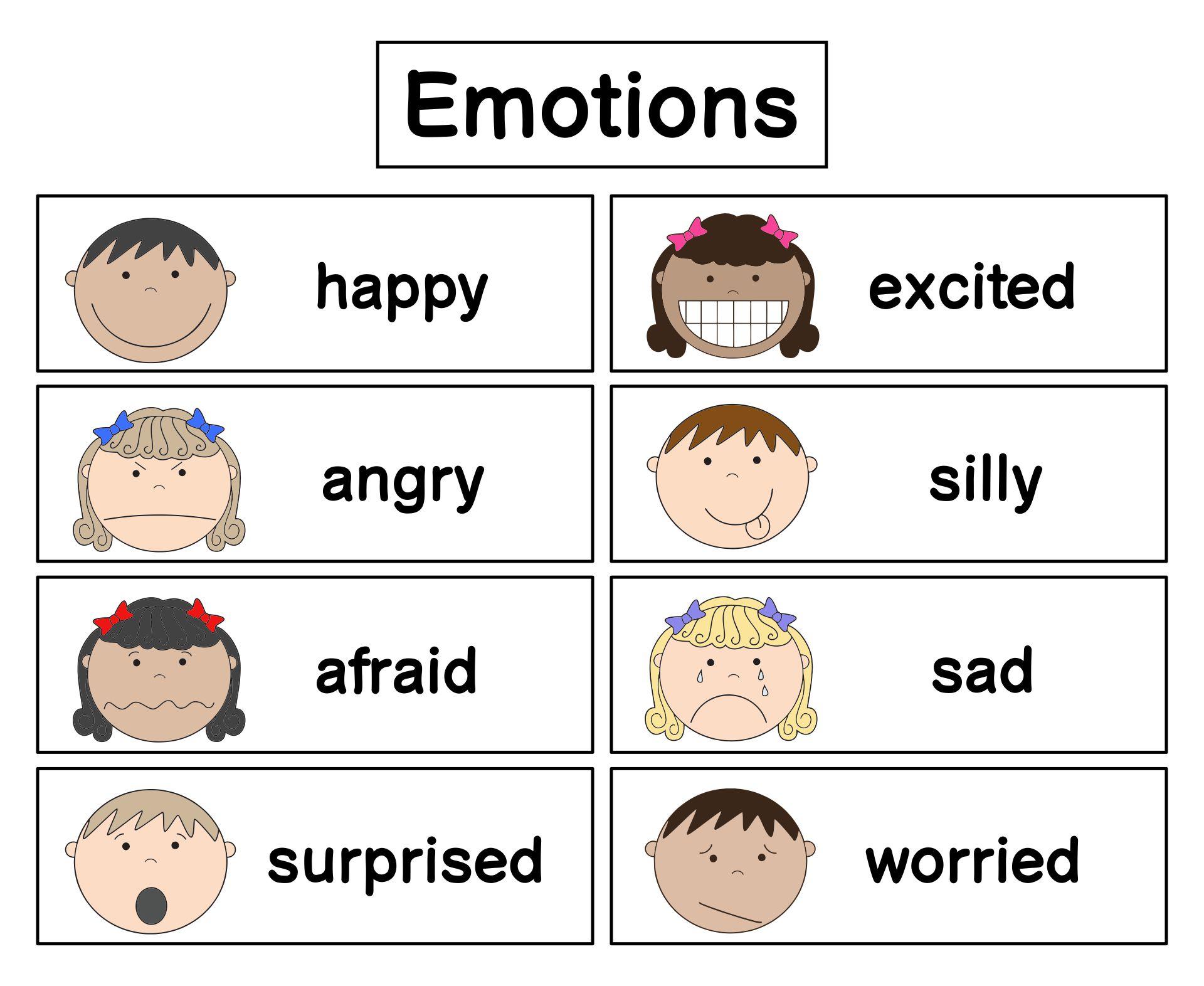 Printable Preschool Feelings Faces Emotions