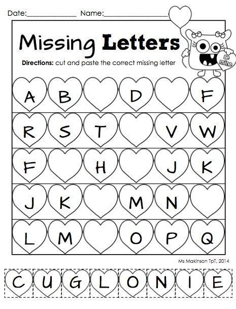 Worksheets Free Printable Valentine Worksheets 7 best images of free printable valentine activity worksheets cut and paste worksheet