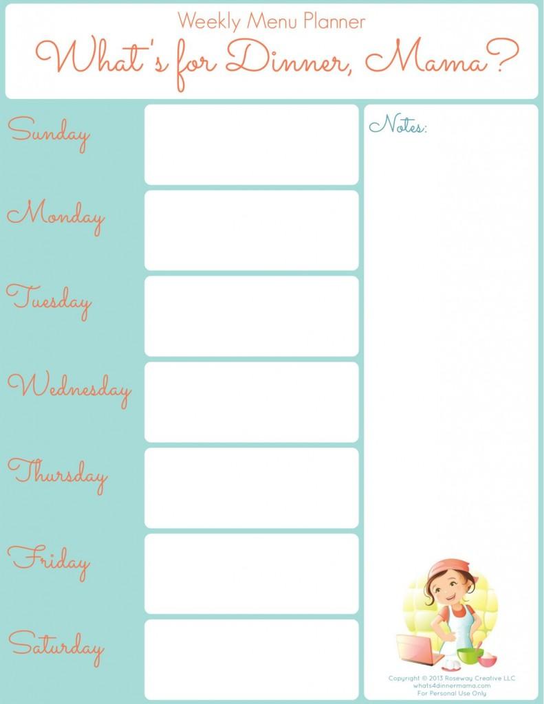 Printable Weekly Dinner Menu Planner