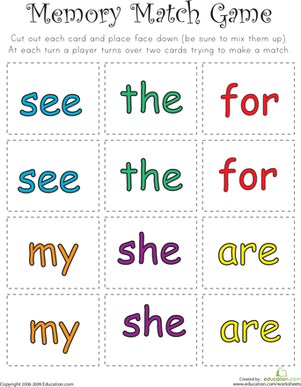 Kindergarten Sight Words Printable Match Game - kindergarten sight ...