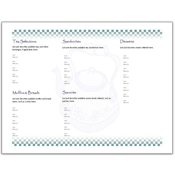 8 Images of Printable Blank Menu Templates Foldable