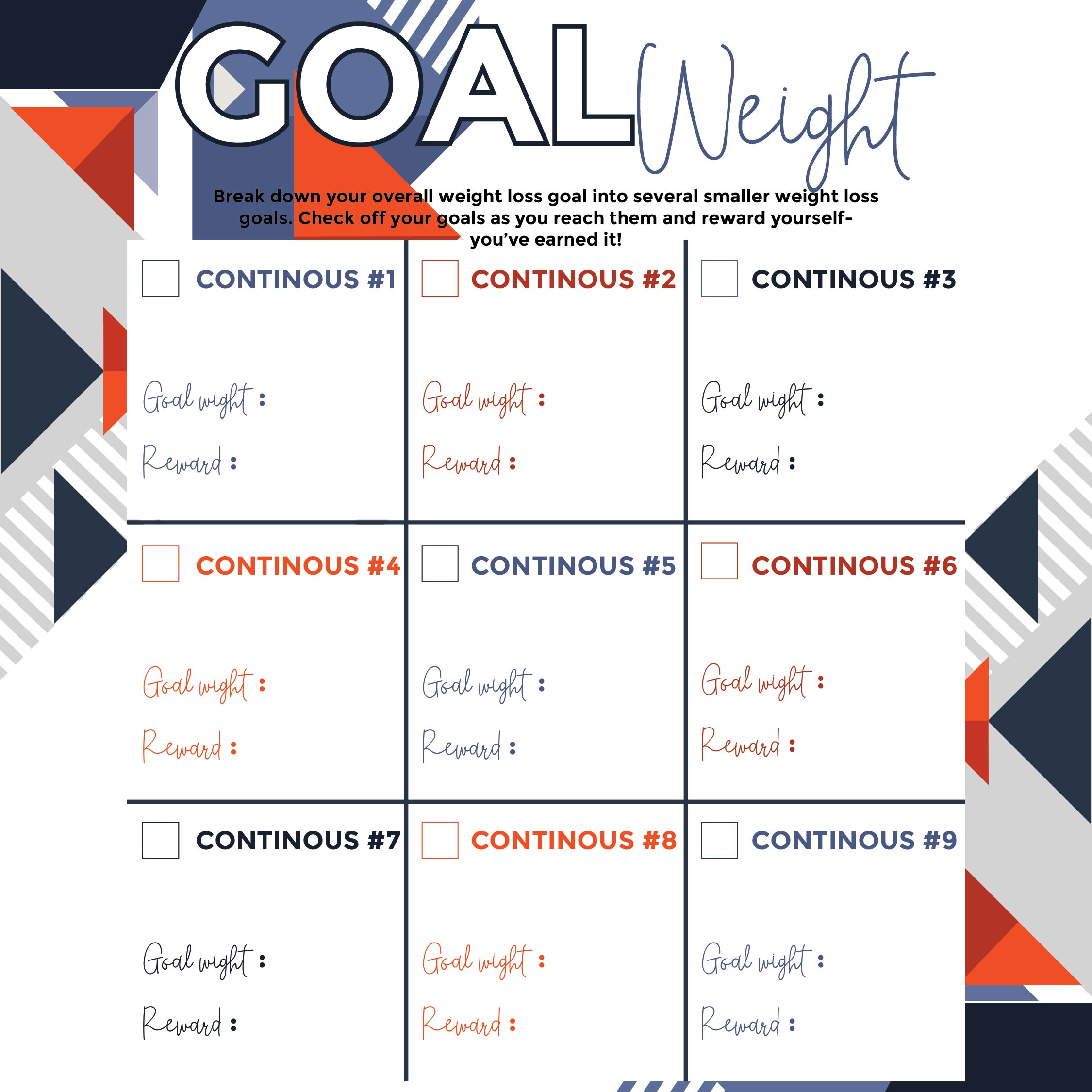 Weight Loss Goal Chart