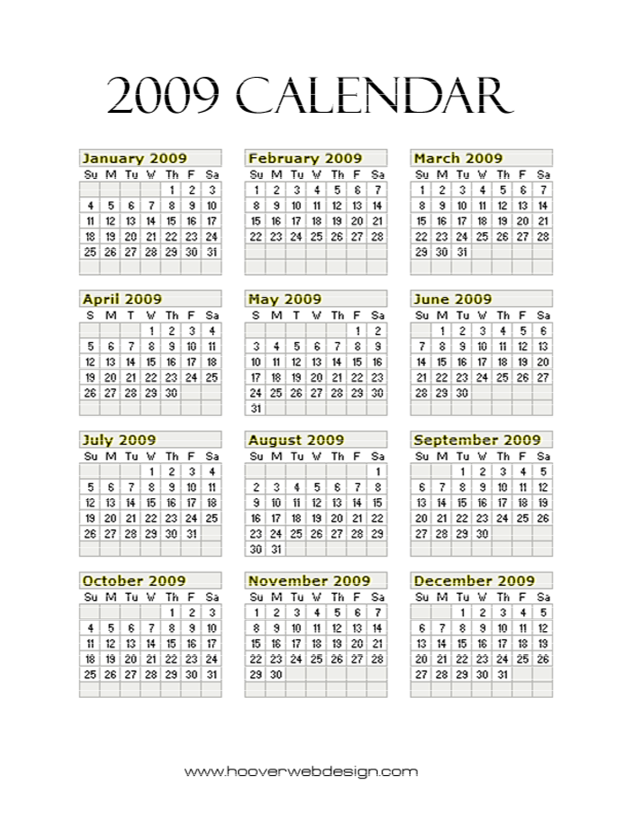 8 Images of 2009 Calendar Free Printable