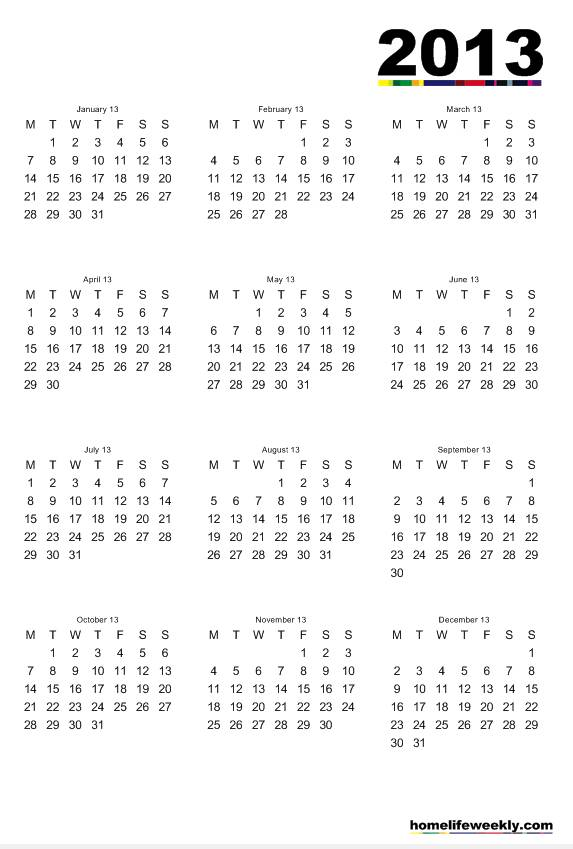 7 Images of Free Printable Calendar Months 2013