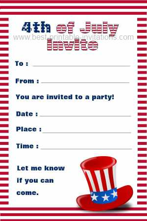 8 Images of 4th Of July Free Printable Invitations