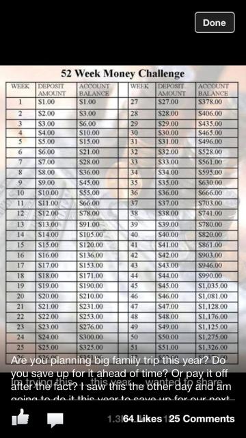 7 Images of 2016 26 -Week Money Challenge Printable Chart