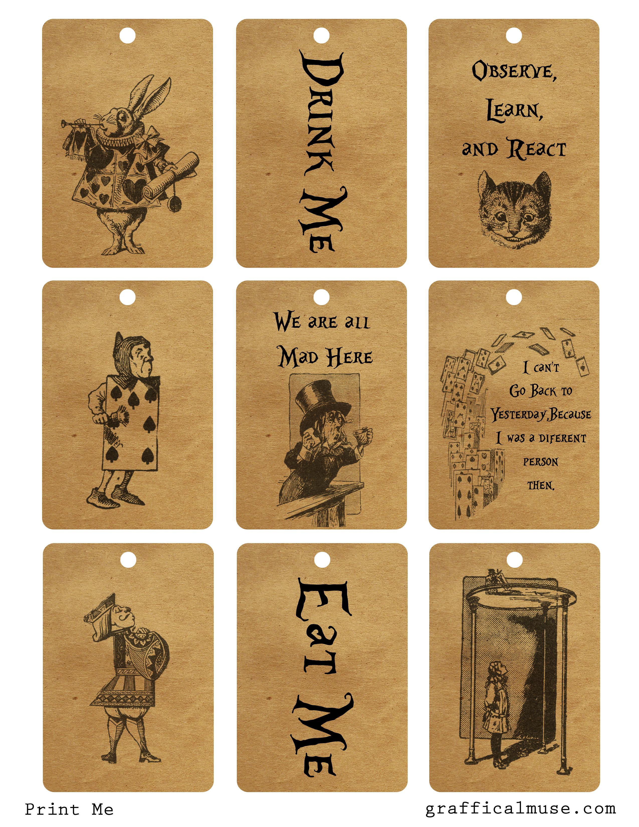 Alice in Wonderland Printable Tags