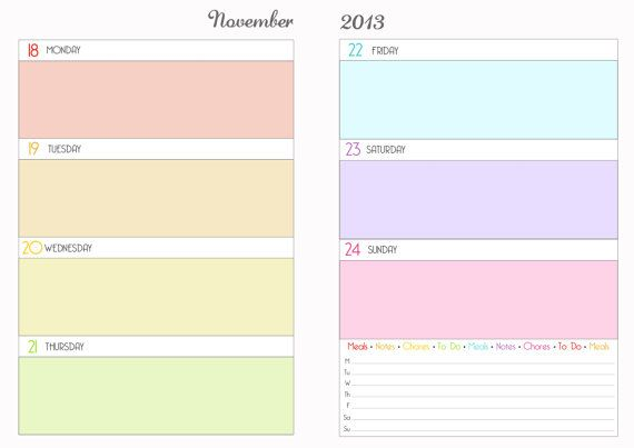 6 Images of Week Planner Printable Pages