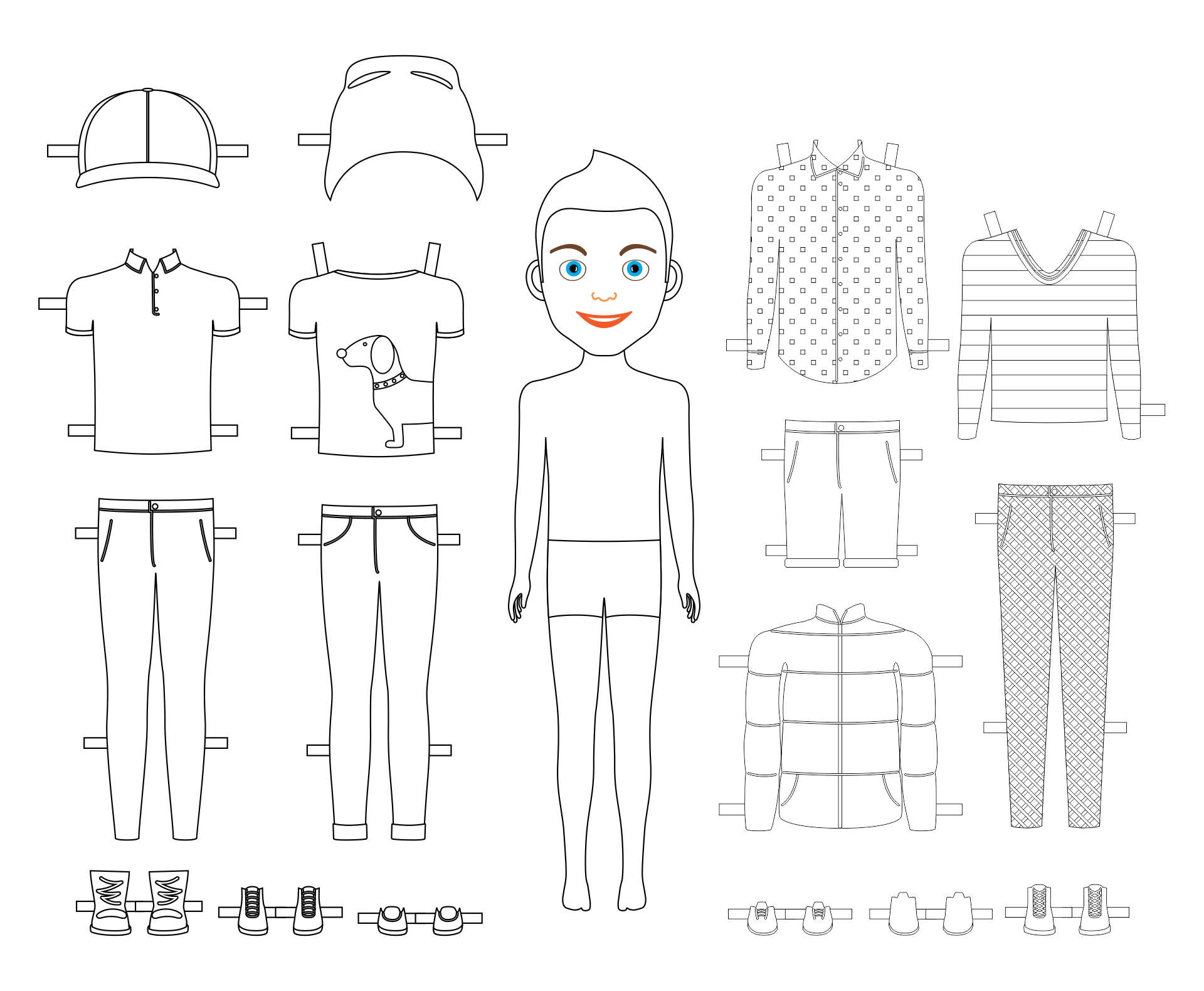 Black and White Paper Dolls to Print