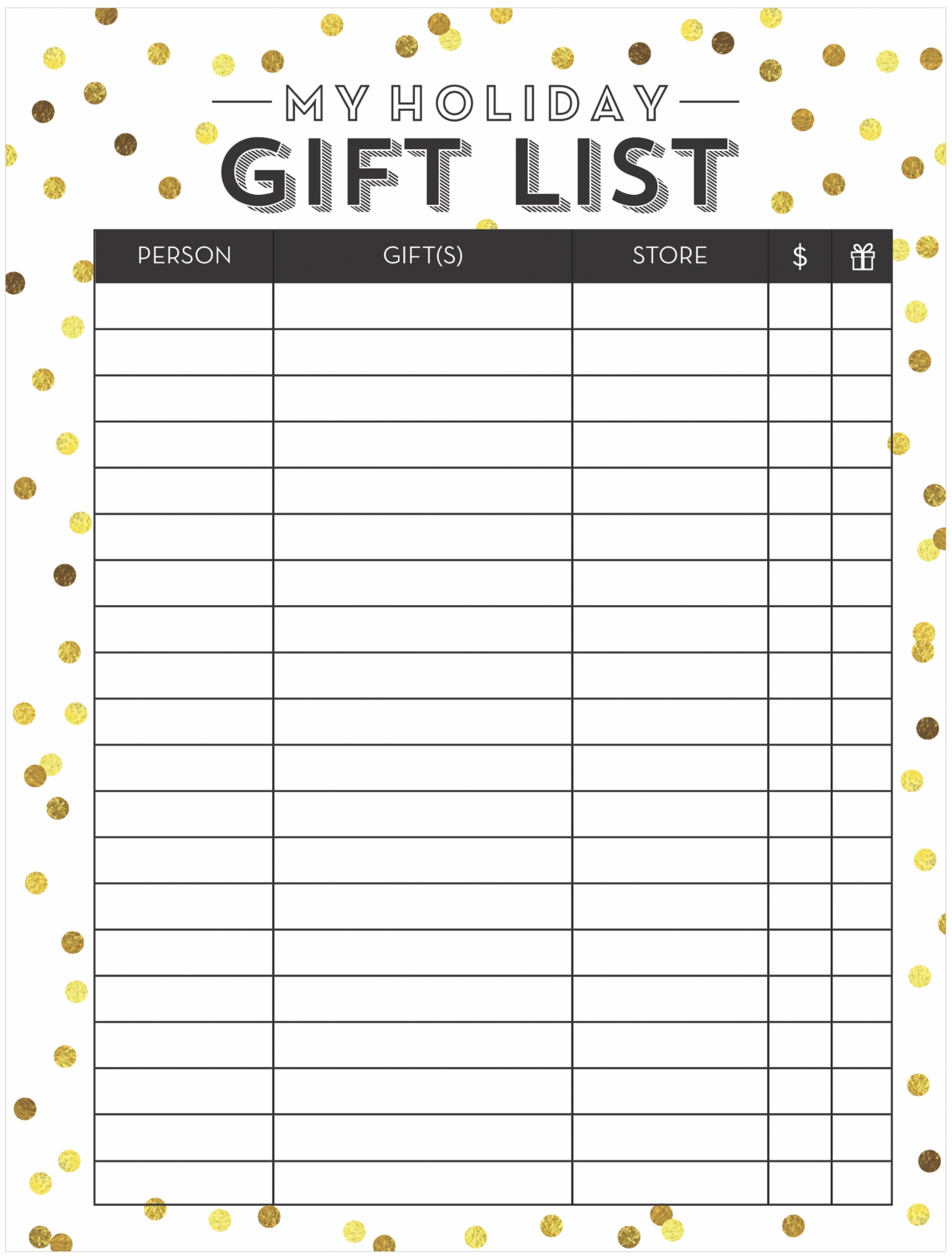 6 best images of free printable christmas gift list template christmas and holiday season. Black Bedroom Furniture Sets. Home Design Ideas