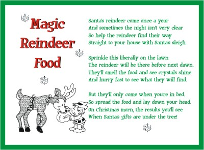 4 Images of Printable Reindeer Food Poem Template