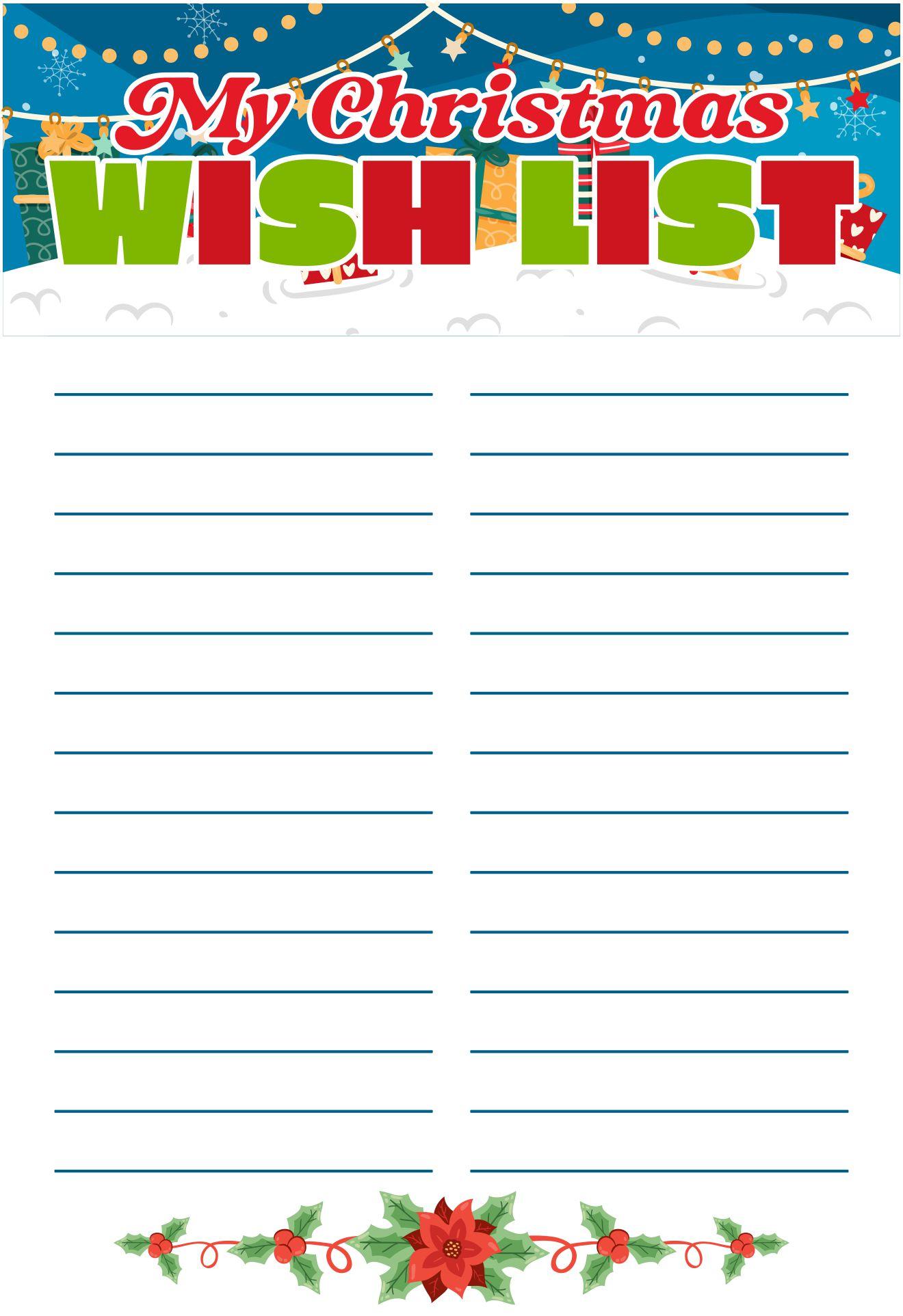 6 Images of Christmas Wish List Free Printable Templates