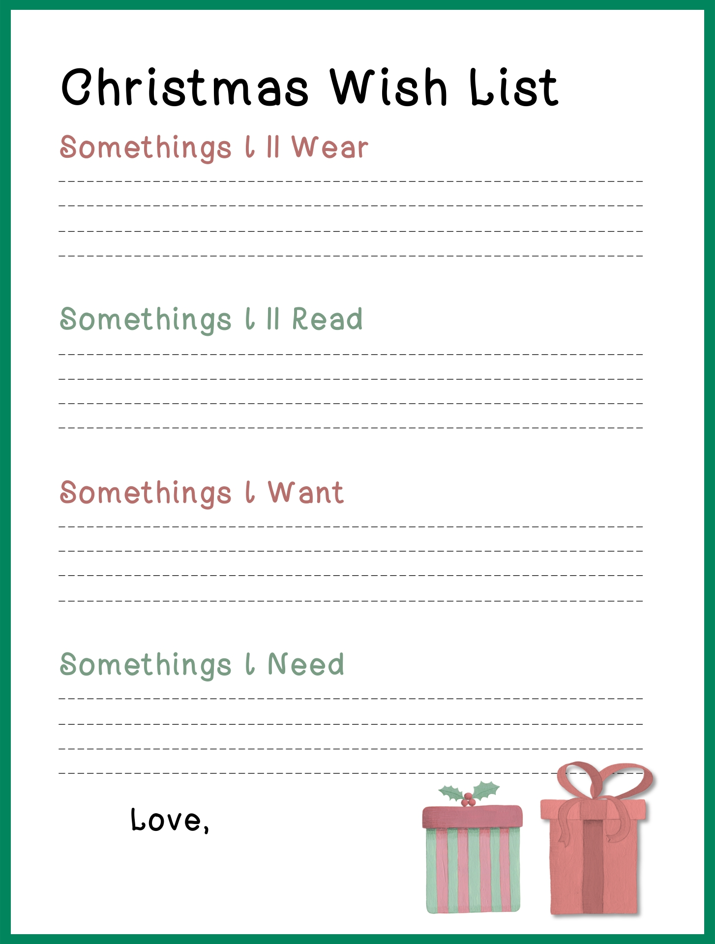 Free Printable Christmas Wish List Template Letters to SantaDoc – Free Printable Christmas Wish List Template