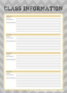 College Binder Organization Printables Free