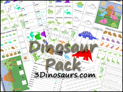 6 Images of 3 Dinosaurs Printables