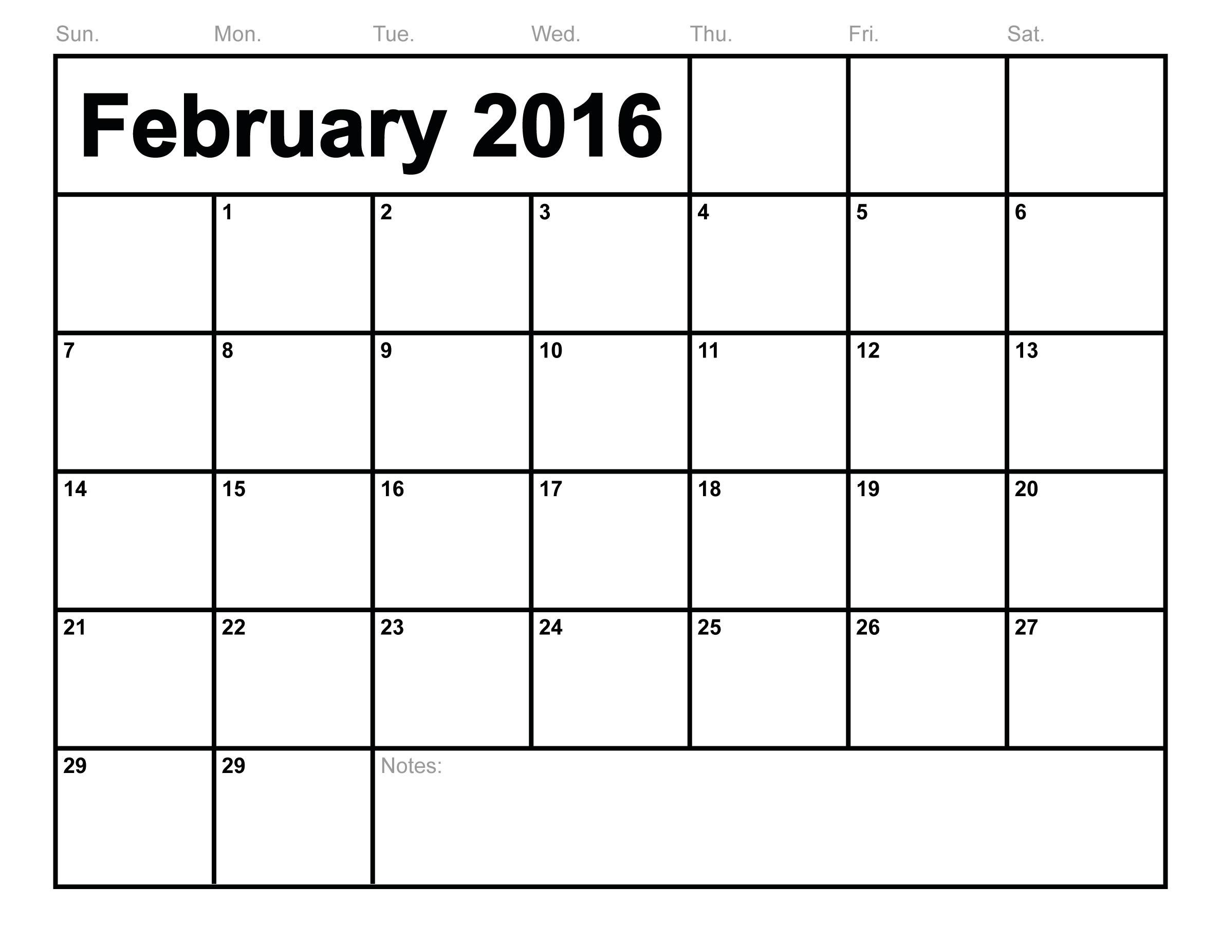 February 2016 Calendar Printable Free Templates
