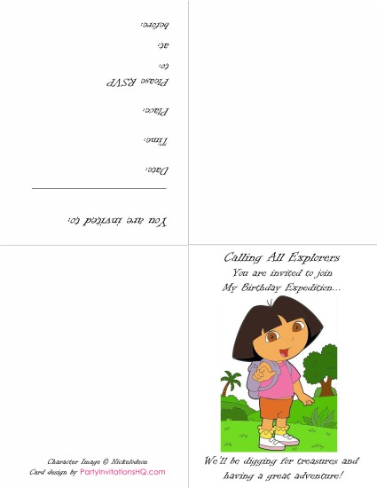 7 Images of Free Printable Dora Invitations