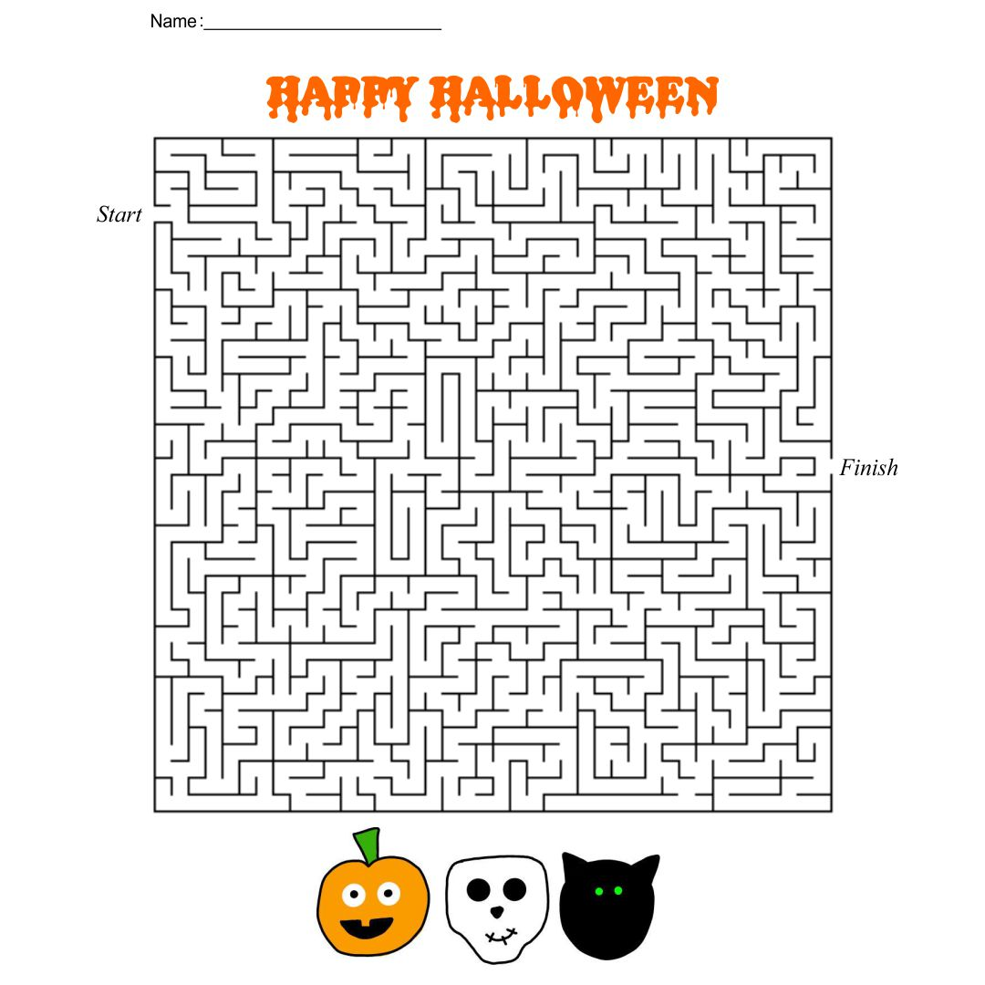 5 Images of Printable Halloween Mazes And Puzzles