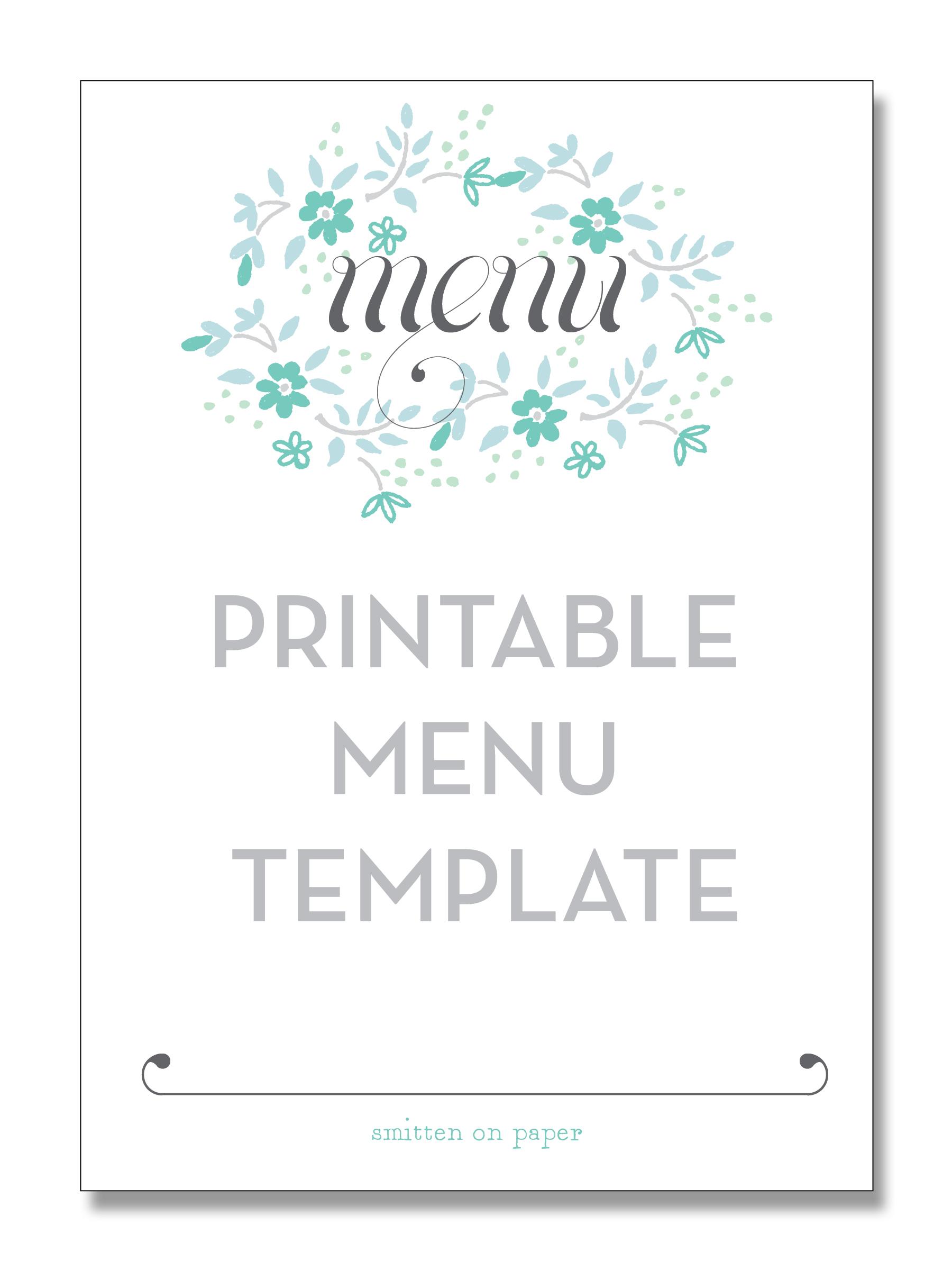 Free Printable Party Menu Templates