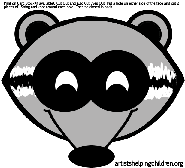 6 Images of Raccoon Mask Printable