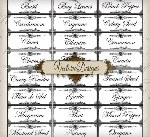 5 Images of Free Printable Spice Labels Designs