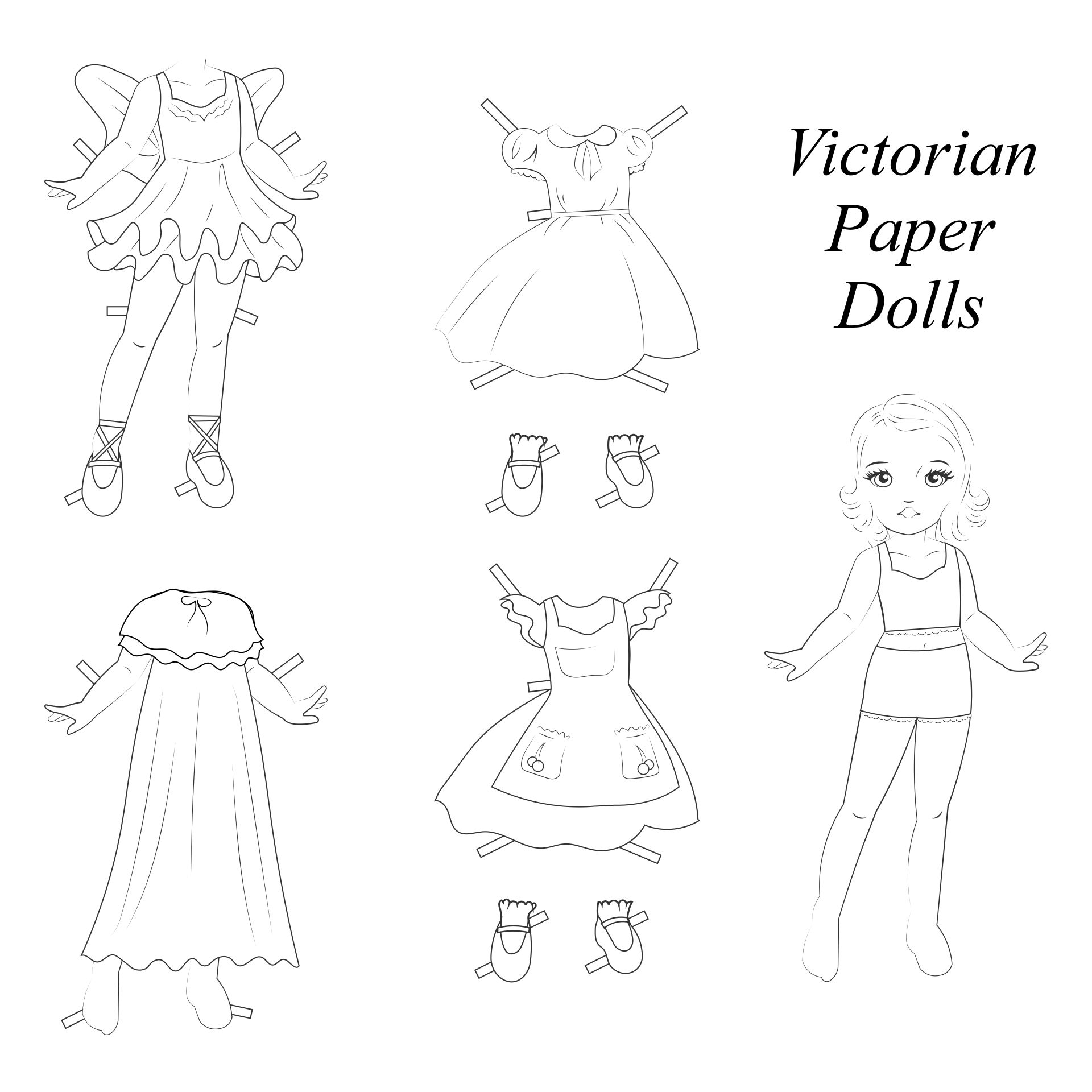 Printable Victorian Paper Dolls Coloring Pages